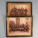 ENSEMBLE DE 2 PHOTOS MILITAIRES ENCADREES DU 6 ème REGIMENT D'ARTILLERIE BOURRELIERS MARECHAL FERRANT VERS 1900 1914