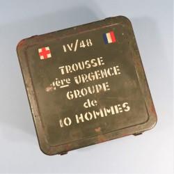 CAISSE EN FER TROUSSE 1ère URGENCE GROUPE DE 10 HOMMES MODELE IV/48 SECOURS TAP INDOCHINE ALGERIE