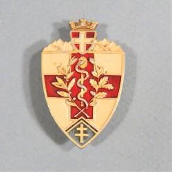INSIGNE MILITAIRE 27 ème BATAILLON MEDICAL FABRICATION EN ALUMINIUM PEINT A.AUGIS LYON
