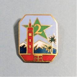 INSIGNE MILITAIRE 2 ème REGIMENT DE TIRAILLEURS MAROCAINS FABRICATION ARTHUS BERTRAND PARIS