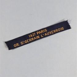 INSIGNE SCOUTS DE FRANCE FABRICATION ANCIENNE ANNEES 1930 BANDE DE BRAS 142 e PARIS GR. St GERMAIN L'AUXERROIS