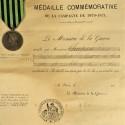DIPLOME ET MEDAILLES ANCIEN COMBATTANT GUERRE DE 1870 1871 ATTRIBUEE A UN SOLDAT DE LA GARDE NATIONALE MOBILE D'EURE ET LOIRE °