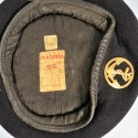 BERET NOIR DES TROUPES DE MARINE INSIGNE DRAGO ROMINVILLE ANNEES 1950 1960 FABRICATION F.T.A SIMON TAILLE 56