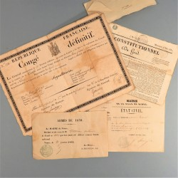 ARCHIVE EMPIRE FAMILLE FERRIERE PERE CONGE SIGNE DU GENERAL GOUVION ET FILS GARDE NATIONAL 1830 A 1852