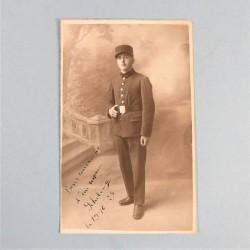 PHOTO CPA D'UN SAPEUR POMPIER DU REGIMENT DES SAPEURS-POMPIERS DE PARIS PHOTO DEDICACEE ET DATEE 1925