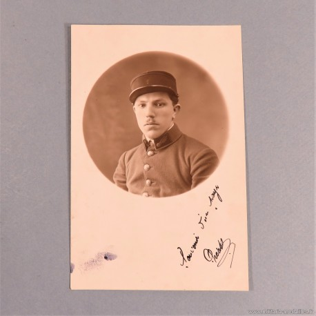 PHOTO CPA D'UN SAPEUR POMPIER DU REGIMENT DES SAPEURS-POMPIERS DE PARIS PHOTO DEDICACEE ANNEE 1920