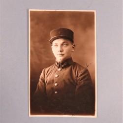 PHOTO CPA D'UN SAPEUR POMPIER DU REGIMENT DES SAPEURS-POMPIERS DE PARIS PHOTO DEDICACEE DATEE 1925