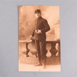 PHOTO CPA D'UN SAPEUR POMPIER DU REGIMENT DES SAPEURS-POMPIERS DE PARIS PHOTO DEDICACEE ANNEES 1920 CARTE POSTAL
