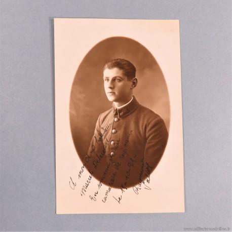 PHOTO CPA D'UN SAPEUR POMPIER DU REGIMENT DES SAPEURS-POMPIERS DE PARIS PHOTO DEDICACEE ANNEE 1920 CARTE POSTALE