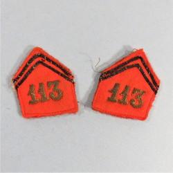PATTES DE COL POUR TENUE 1939 D'OFFICIER DU 113 ème REGIMENT D'ARTILLERIE D'ARTILLERIE LOURDE CAMPAGNE 1939 1940