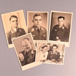 ENSEMBLE DE 5 PHOTOS DE SOLDATS ALLEMANDS SECONDE GUERRE LUFTWAFFE ARMEE DE L'AIR AVIATION PILOTE PARACHUTISTE FORMAT CPA