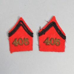 PAIRE DE PATTES DE COL D'OFFICIER D'ARTILLERIE 405 ème DCA DEFENSE CONTRE AVIONS POUR VESTE MODELE 1939 CAMPAGNE 1939 1940
