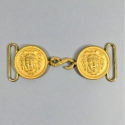 BOUCLES DOREES A TETE DE GORGONE MODELE 1920-1931 POUR CEINTURON DE GRANDE TENUE D'OFFICIER VIEILLES TETES