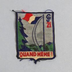 INSIGNE TISSU CHANTIERS DE JEUNESSE CJF GROUPEMENT 21 GALLIENI QUAND MEME (AUVERGNE)