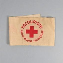 BRASSARD DE SECOURISTE DE LA CROIX ROUGE FRANCAISE FABRICATION SECONDE GUERRE TAMPONNEE CRF