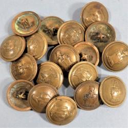BOUTONS GENIE TROUPE DIAMETRE 2.4 cm EPOQUE 1850-1915 GUERRE 1914 - 1918 CAPOTE ET UNIFORME