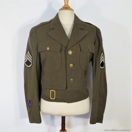 """BLOUSON VESTE US """" IKE """" MODELE 1944 MONTE AVEC PATCH AVIATION STAFF SERGENT TAILLE 38 R ET NOMBREUX MATRICULES"""