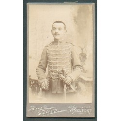 PHOTO CDV D'UN CAVALIER AU 11 ème REGIMENT DE HUSSARDS