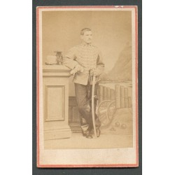 PHOTO CDV D'UN CAVALIER AU 3 ème REGIMENT DE HUSSARDS