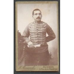 PHOTO CDV D'UN CAVALIER DU 11 ème REGIMENT DE HUSSARDS