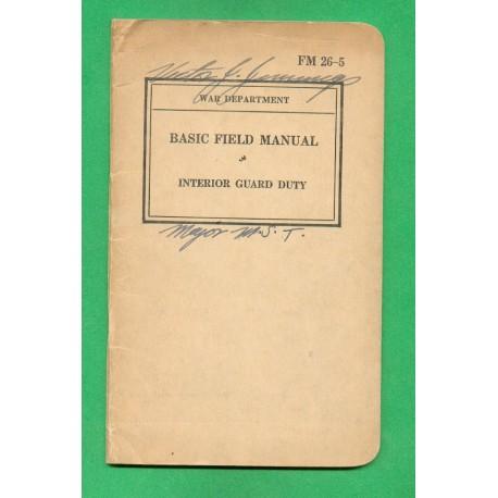 MANUEL MILITAIRE US 1937 GUARD SECURITEE INTERIEUR NOMINATIF